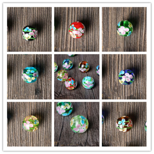 12//14mm Czech glass Crackle Floral Round Loose Spacer Beads Jewelry Making À faire soi-même