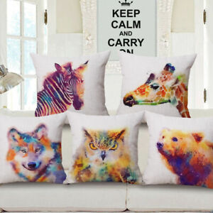 Watercolor-Ink-Painting-Wolf-Owl-Decorative-Throw-Pillow-Case-Cushion-Cover-18-039-039