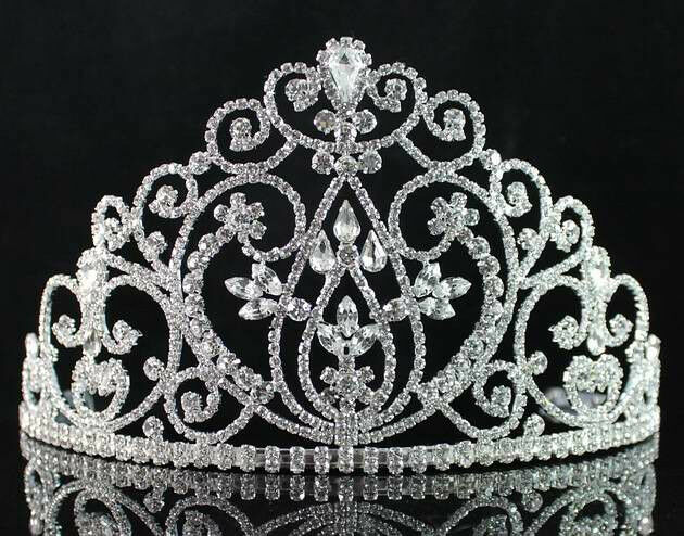 REMARKABLE CLEAR AUSTRIAN RHIESTONE TIARA CROWN WITH HAIR COMBS BRIDAL WED T1726