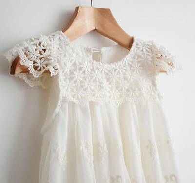 Flower Girl Dress Vintage Lace Dance Party Dress birthday Ivory
