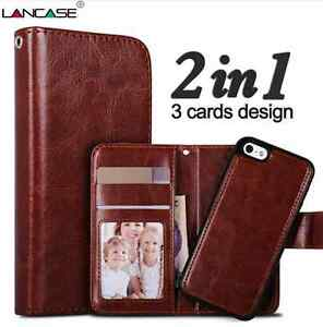 newest ff422 b813a Details about Apple Iphone 8 PLUS leather wallet case with detachable  magnetic phone holder.