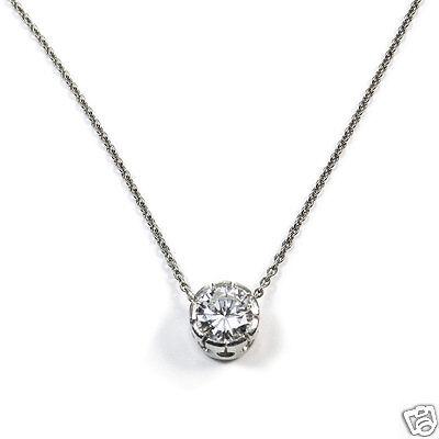 Klassischer 0.72 ct Brillant Solitär Anhänger mit Kette Platin Diamant Kette