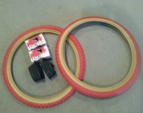 2 DURO 20X2.125 BMX BICYCLE TIRES RED GUMWALLS  COMP 3 TYPE  /& 2 TUBES TWO