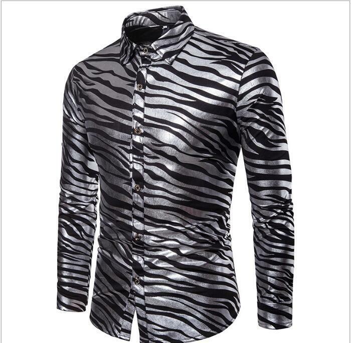 Collared Fashion Men Shirt Formal Casual Stripe Zebra Slim Fit Hot Sale Fashion