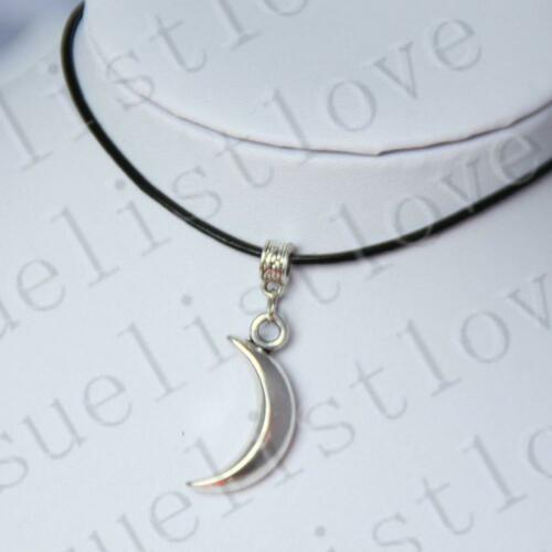 Crescent with Black Genuine Leather Cord Charm Necklace Choker Moon Pendant
