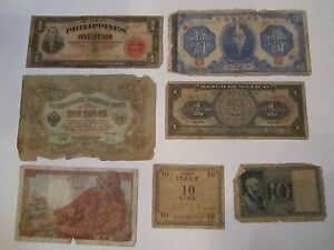 COLLECTION-OF-7-OLD-CURRENCY-NOTES-WORLD-WIDE-NICE