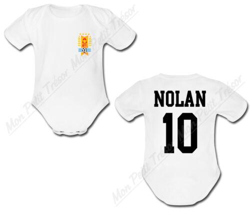 Body Bébé Football Maillot Uruguay personnalisé avec prénom et numéro au dos