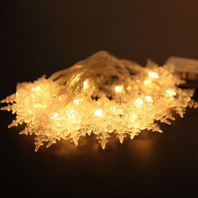 2M Snowflake Fairy String Light Wedding Xmas Party Decor Outdoor Lamp 20LED