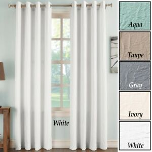 Image Is Loading Taupe Crinkle Curtain Panels With Grommets