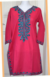 Turquoise-Green-Embroidered-Magenta-Color-Long-Cotton-Tunic-Top-Kurti-from-India
