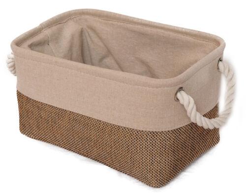 Cesta de tela beige//naturaleza l 30cm cesto para almacenar objetos dekokorb box pinzamiento de cuerda