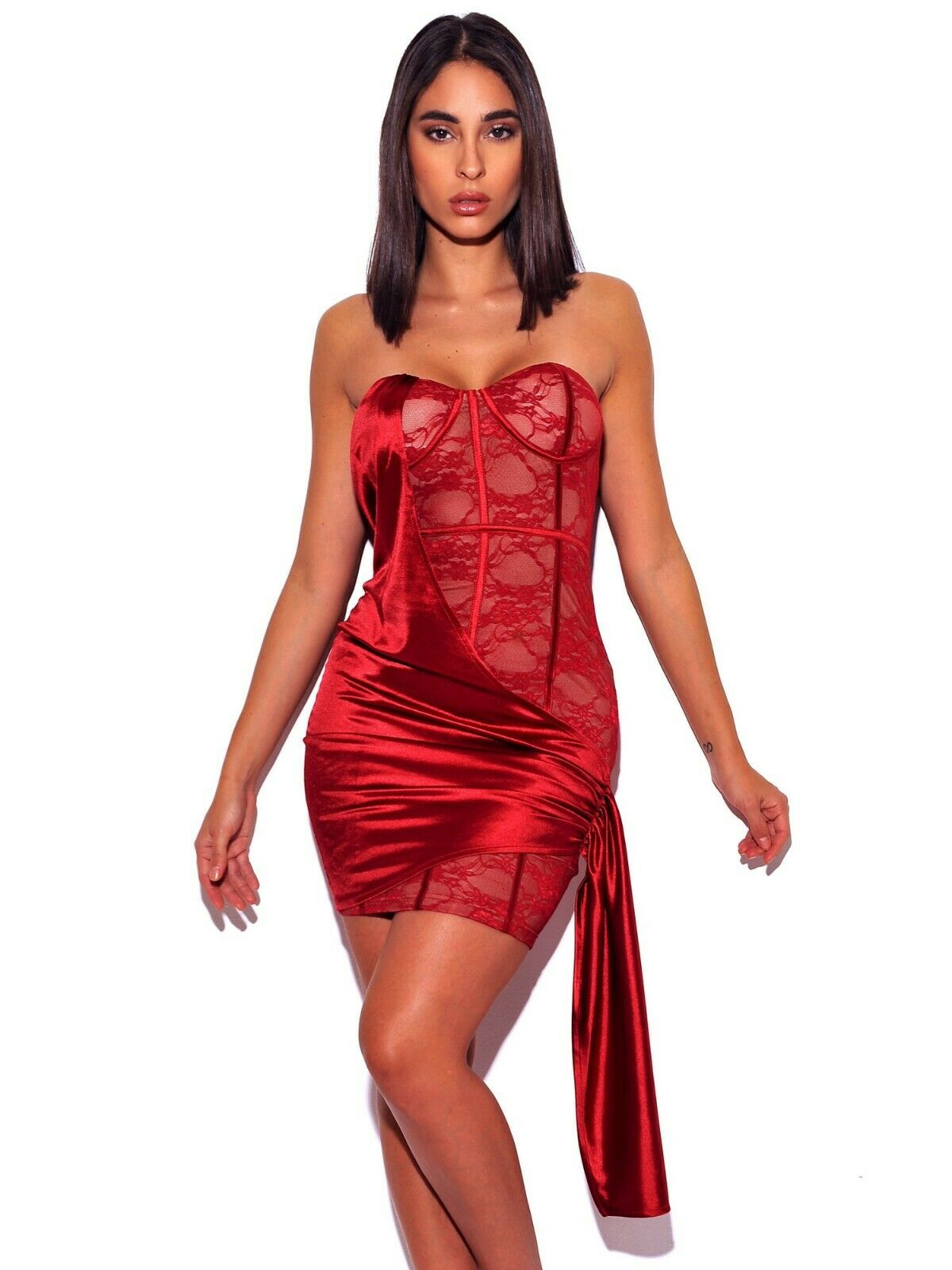 Strapless Lace Satin Drape Dress