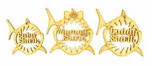 In-legno-MDF-Mummia-SQUALO-PAPA-039-Squalo-Baby-Shark-Decorazioni-di-Natale-Craft-Set