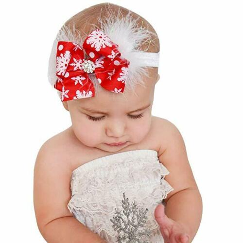 Baby Girls Toddler Christmas Bow Feather Snow Flower Hair Headwear Headband
