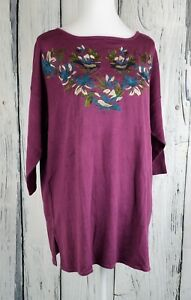 Jessica-London-Sweater-Top-Pullover-Embroidered-Flower-Elbow-Sleeve-Size-14-16