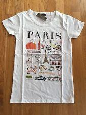 "NWT J Crew Women's XS  ""Paris"" Destination Art T-Shirt Ivory #F4362"