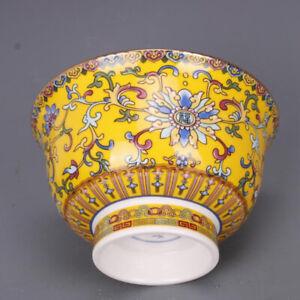 Bol en porcelaine chinoise de Jingdezhen Chine céramique jaune dynastie Qing new