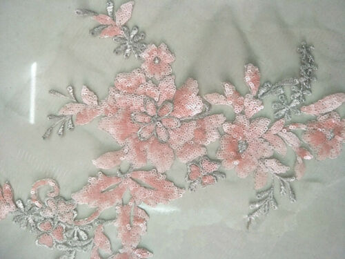 13 Colours Beaded Bridal Lace Applique Embroidery Sew on Wedding Dress Motif 1PC