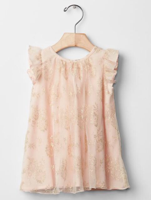 Gap Baby Girl Size 0 3 Months Pink Gold Metallic Lace Flutter