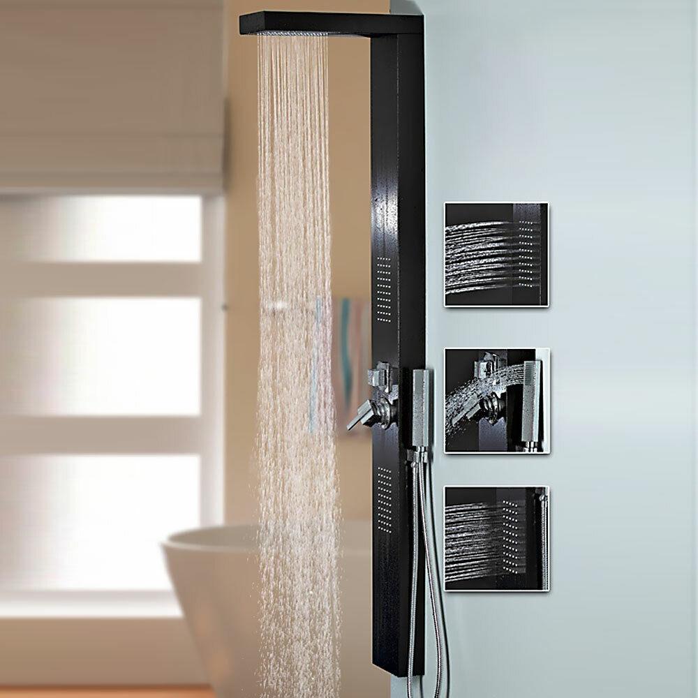 Aluminium noir panneau de douche avec douche de pluie jets de massage de Sanlingo