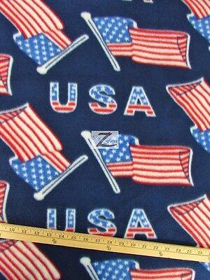 "AMERICAN PRINT POLAR FLEECE FABRIC - USA Flags - 60"" WIDTH SOLD BY THE YARD 130"