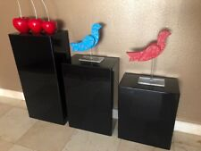 Ds Acrylic Art Sculpture Stand Pedestal Display Black 3 Steps Set