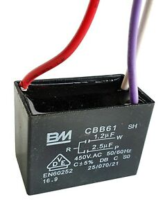 Cbb61 Motor Fan Start Capacitor Bm 3 Wire 1 2uf 2 5uf 450v Max Uksellr Ref F979 Ebay
