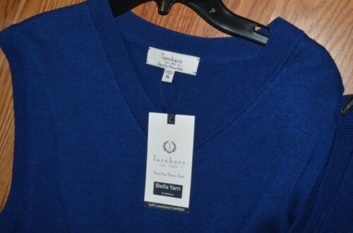 Turnbury Men/'s 100/% Merino Wool V Neck Sweater Vest Biella Yarn S M L XL New