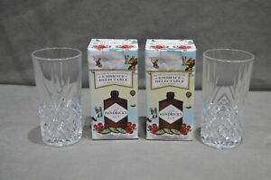 2 Hendrick/'s Gin Highball Crystal Cut Glass Tumbler New DAMAGED BOXES Pair Of