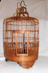 Bird-Cage-Chinese-Eagle-Carved-Bamboo-Vintage