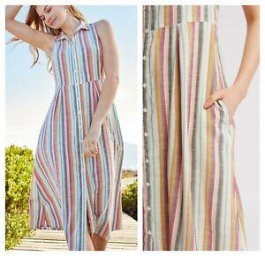 ex-Fat-Face-Jennifer-Stripe-Midi-Shirt-Pockets-Dress