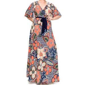 Women-Plussize-Janette-Fashion-Orange-Olive-Floral-Faux-Wrap-Maxi-Dress-1X-2X-3X