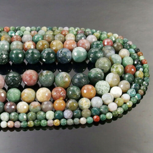 Indian Agate Gemstone Faceted Round Beads 15.5/'/' 4mm 6mm 8mm 10mm 12mm DIY