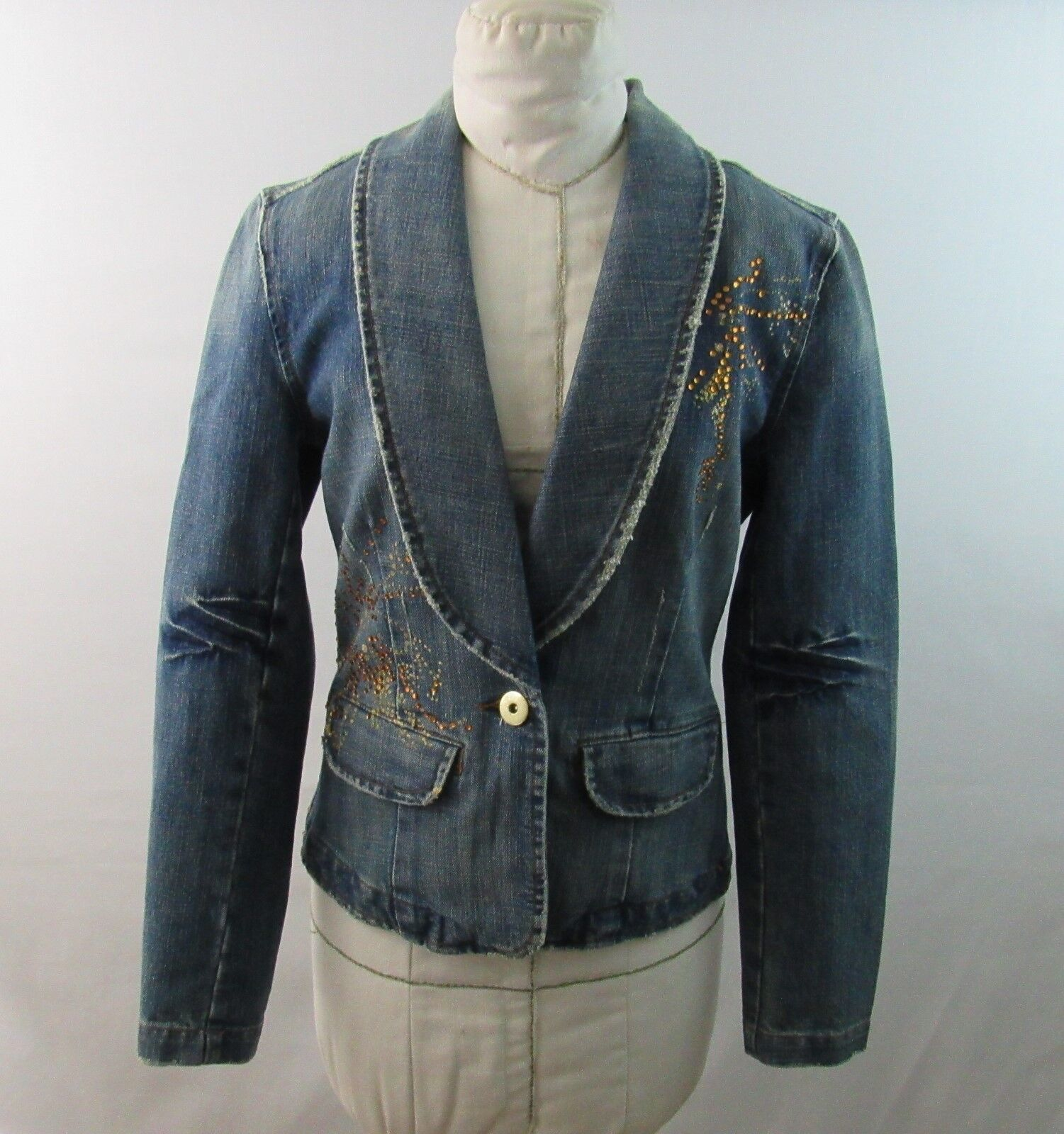 Baccini Stretch Blue Jean Jacket Embellished Distressed Size Small