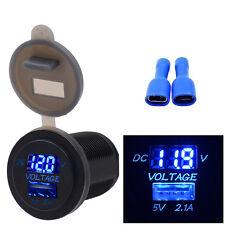 USB Charger 5V 2.1A Socket Adapter Voltmeter Outlet For 12V 24V Motorcycle Car
