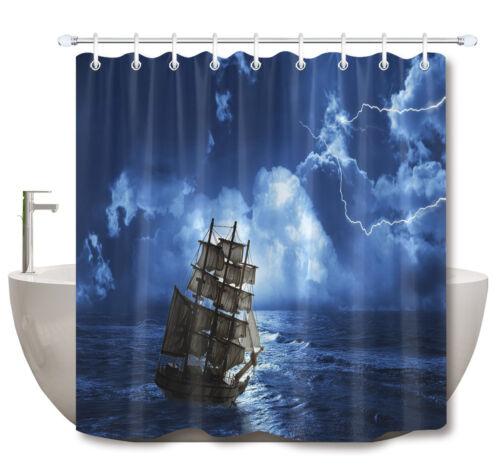 "72//79/"" Boat Sailing on Lightning Night Shower Curtain Bath Mat Waterproof Fabric"
