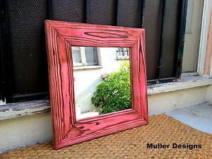 Details About Wood Framed Mirrors Small Wall Wooden Mirror Red