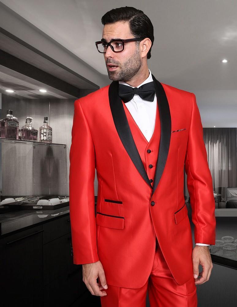 New Statement 3 PC Modern Fit Shiny ROT Tuxedo Suit Vest Pants Style Rome