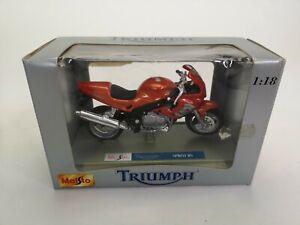 TRIUMPH-Sprint-RS-MOTO-Maisto-Moto-modello-diecast-scala-1-18-W-Stand