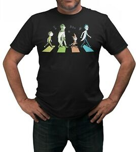 Rick-amp-Morty-Abbey-Road-T-Shirt-Adults-Sizes-Black-100-Cotton-Shirt