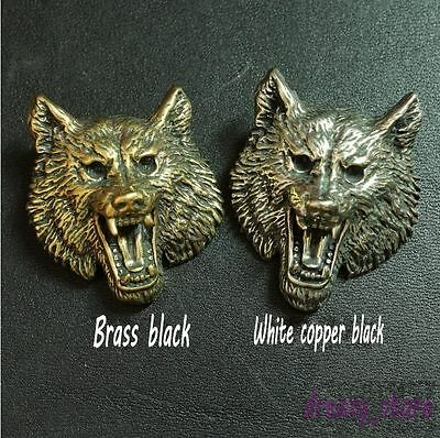 Leather Craft DIY Brass Copper Wolf Head Leather Wallet Decorative Buckle