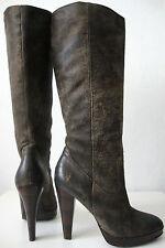 FRYE HARLOW CAMPUS Stiefel Damen Leder High Heel Luxus Boots Braun Gr.37 /7M NEU