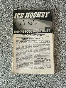 Wembley Empire Pool - Wembley Lions - Ice Hockey Programme 11/10/1956