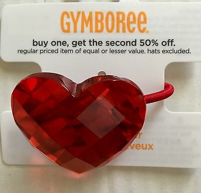 NWT girls Gymboree VALENTINES DAY red acrylic HEART pony-o HAIR ACCESSORY