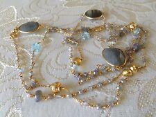 """Rarities Carol Brodie Vermeil Sterling Multi Gemstone Station Necklace  44"""" L"""