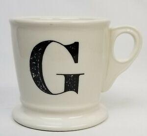 """Anthropologie Monogram Mug """"G"""" Letter Coffee Cup White Black Shaving Style Gift"""