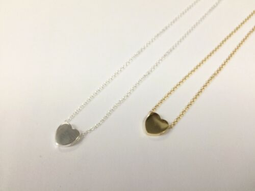 925 Sterling Silver Plain Heart Gold Plated Pendant Necklace for Women 16/'/'-18/'/'