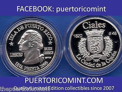 Silver PESETA GUANICA  2009 Puerto Rico Boricua Quarter 1//100 Plata