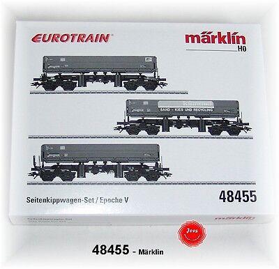 "48455  Märklin  Sonderwagen  /""Seitenkippwagen-Set /"" EUROTRAIN"