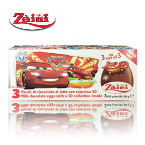 Zaini Disney Cars Milk Chocolate Toys Inside 3 Eggs Collectible Free Fast Ship